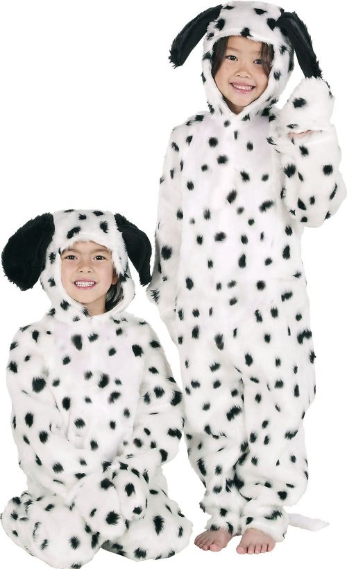 Childs Dalmation Fur Fabric Costume 101 Dogs Animal Cartoon Fancy Dress Outfit